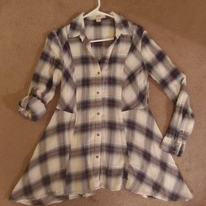 Blue flannel top!